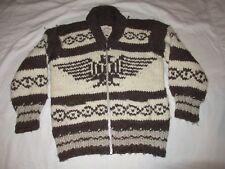 Authentic Vintage Cowichan Indian Hand Spun Wool Thunderbird Sweater Unisex S/M