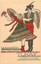 c1930 TOKAY - Hungarian Restaurant, New York City, NY Postcard
