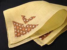 #5585🌟Vintage 30s Geometric Feedsack Appliqué Pocket Linen Handkerchief