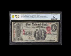 SUPER RARE 1865 $1 FIRST CHARTER LINCOLN, IL PCGS UNCIRCULATED
