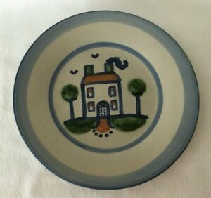 """M.A. Hadley Blue HOUSE Country Scene 9"""" Plate Pottery"""