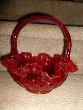 Vintage 1960's Fenton Ruby Red Ruffled Glass Thumb Print Basket Mint Conditon