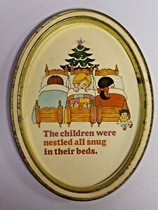 """Vintage Tin Litho Tray Oval """"The Children were nestled all snug in their beds"""""""