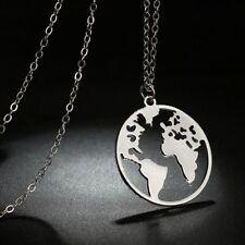 Fashion Geometric Round Circle Origami World Map Choker Necklace Women's Jewelry