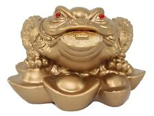 Gold Three Legged Fortune Toad Money Coin Frog  Feng Shui Decoration Gift