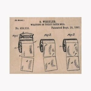 Mounted Rubber Stamp, Toilet Paper, Toilet Paper Roll Patent, Vintage Ad, TP