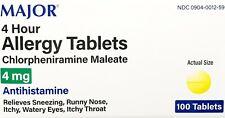 Major Chlorpheniramine 4mg Allergy Tablets 100ct -Expiration Date 12-2022