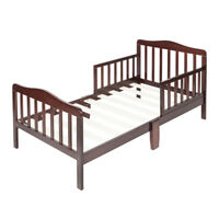 US Home Wood Bed Baby Toddler Children Bedroom Furniture w/Kid Safety Guardrails