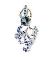 elegant Blue Topaz 925 Sterling Silver Blue Pendant genuine suppiler US gift