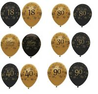 """Black & Gold - 6 x 12"""" LATEX BALLOONS (Birthday Party Decorations/Age/Number)"""
