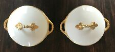 (2) Vintage Royal Schwarzburg MIDAS White/Gold Trim Round Covered Serving Bowls