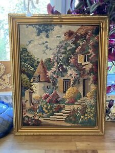 Vintage 1960's Framed Tapestry - Cottage Core - Retro Country Living