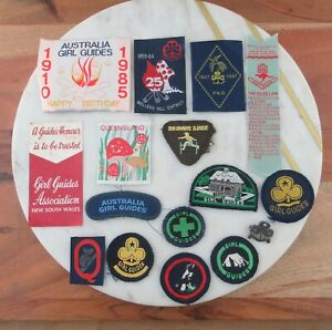 Lot of Vintage Girl Guide Badges / Patches 1950's - 1980's