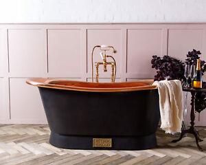 Witt & Berg Copper Bateau Bathtub - Charcoal Exterior / Copper Interior
