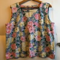 VINTAGE Blue Yellow Pink Floral Square Cut Sleeveless Tank Top fits Large/XL