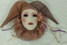 Vintage Painted Courtroom Jester Mask Wall Hanging Decor