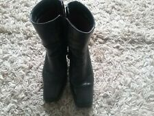 Hush Puppies Leather  Black Ankle Boots Size 5 Side Zip Silver Buckle slim heel
