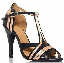 New Black Leather Latin Salsa Ballroom Dance Shoes High Heels All Size