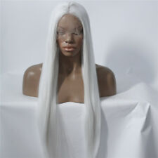 """24"""" Long Straight GlueLess Lace Front Wig Synthetic Hair Fashion Pure White"""