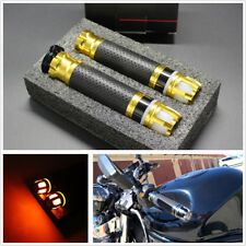 2 Pcs 7/8'' 22mm CNC Motorcycle Left+Right Handlebar Steering Light Grip Yellow