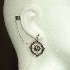 Compass -  Ear Cuff Clip Chain Dangle Piercing  *UK MADE * - *FREE POST*