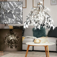 Design Hänge Pendel Leuchte Blätter Lampe silber Äste Wohn Zimmer Beleuchtung