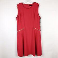 Tommy Hilfiger Raspberry A-Line Gold Zipper Career Dress Size 16