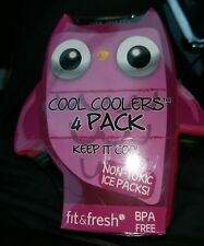 Non Toxic Lunch Ice Pack, Cool Cooler, Owl, 4 pcs, Bpa Free, Multicolor