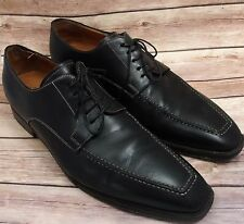 Santoni Men's Leather Oxford Black Dress Shoes Size 12 EE Made In Italy