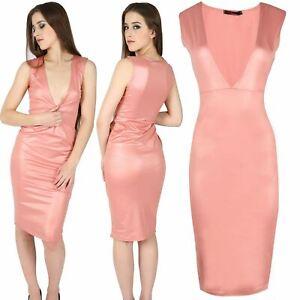 Womens Ladies V Neck Party Sleeveless Bodycon Pencil Deep Cut Sexy Mini Dress