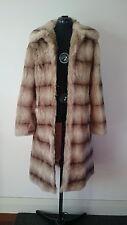 NEW SANDRA STEINER 'Tessa' Faux Fur Beige/Brown Coat  - Size 10