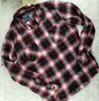 American Rag red black plaid flannel button up shirt SIZE L soft lightweight (V)