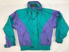 Vintage Couloir Ski Jacket Coat Womens Size 10 Green Purple Hidden Hood