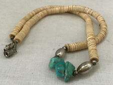 Vintage Southwestern Sterling Silver Beads Shell & Turquoise Necklace 18 Inches