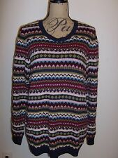 TALBOTS All Over Fair Isle Beaded LS Sweater NWT Multi 1X $109