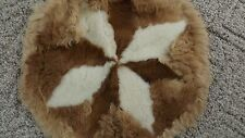 """VINTAGE SHEEP SKIN FUR -15""""-ROUND PILLOW CASE COVER-35 YEAR OLD-from PORTUGAL"""