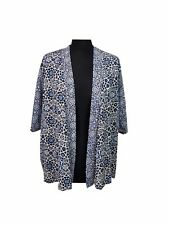 M&S Kimono Top Size 8 Blue White Aztec Holiday Casual Everyday Evening Party *