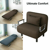 Convertible Sofa Bed Sleeper Couch Chaise Lounge Chair Padded Pillow Blue/Coffee