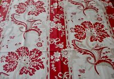 Antique French Indienne Floral Garland Stripe Dot Cotton Fabric ~ Red Gray Tan