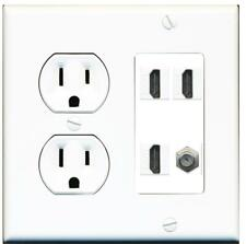 15 Amp Round Power Outlet 3 Port HDMI 1 Coax Cable TV F-Type Wall Plate