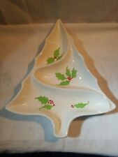 Holiday Tree Divided Server Candy Dish Centerpiece Holly
