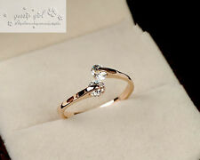 18K White / Rose Gold Filled Inlay SIMULATED DIAMOND Wedding Engagement Ring 5-9