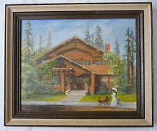 Oil Painting of Landmark House in Los Altos by Floy Hopple