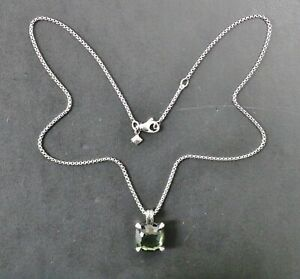 """David Yurman Chatelaine Green Orchid & Diamonds 925 Sterling Silver 18"""" Necklace"""