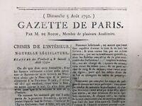 Gazette de Paris 1792 Durosoy Émigrés Prince de Condé Binghen Révolution France