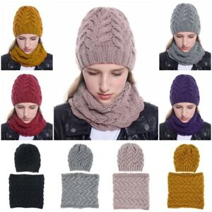 Knitted Hat and Scarf Set Winter Warm Beanie Hat Neck Warmers for Women Men Gift