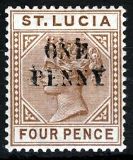 ST LUCIA Queen Victoria 1891 ONE PENNY DOUBLED OVERPRINT 4d. Type I SG 55a MINT