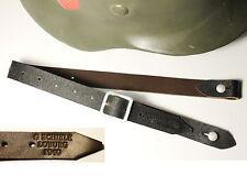 "JUGULAIRE CASQUE ALLEMAND WW2  ""G.SCHIELE LOBURG 1940"" cuir brun"