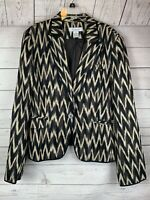 EMANUEL UNGARO Jacket Blazer Long Sleeve Brown Animal print sz 14 100% LINEN