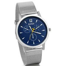 Reloj de pulsera analógico con esfera de acero inoxidable y malla para hombre